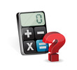 Calculator and question mark illustration