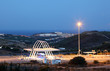 Toll gate illuminated at night. Andalusia, Spain
