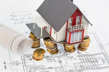 Wohnhaus auf Bauplan