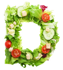 D letter made with salad isolated on white