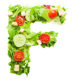 F letter made with salad isolated on white