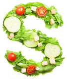 S letter made with salad isolated on white