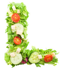 L letter made with salad isolated on white