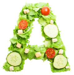 A letter made with salad isolated on white