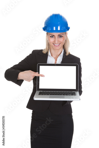 Female Architect Holding Laptop