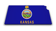 Kansas Map Flag Shape