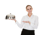 Young Waitress Holding Tray And Lid