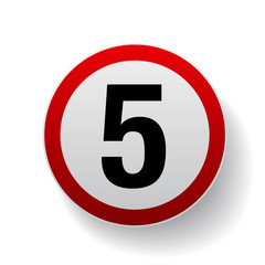 Speed sign - Number five button