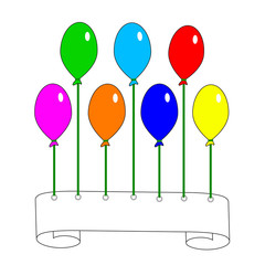 Scroll and colorful ballons