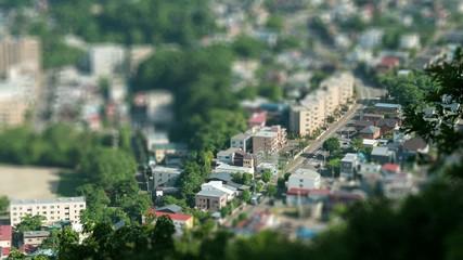 ジオラマ風の街並み