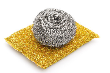 two kinds of steel wool dishwashing on white background