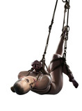 Image of attractive sad girl hanging on rope
