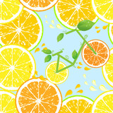 Seamless pattern of yellow lemon slices - vector illustration
