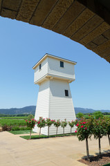 Vineyard water tower in Napa valley California