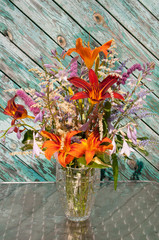still life bouquet: hosta, astilbe and hemerocallis