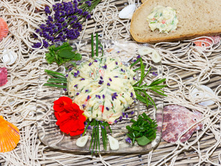Delicious herb butter with bread