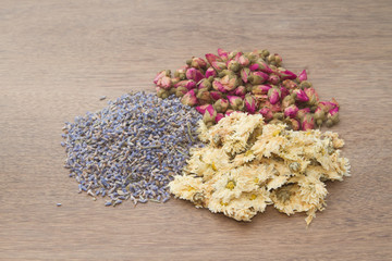 Flowers tea collection on  wooden background