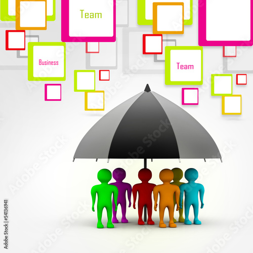 team standing with a black umbrella in abstract background