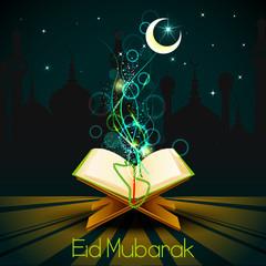 vector illustration of Quran on Eid Mubarak ( Blessing for Eid)