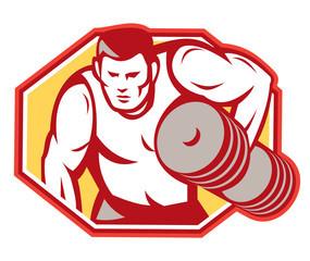 Weightlifter Lifting Weights Retro
