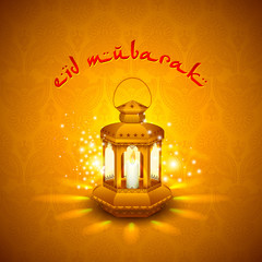 vector illustration of lamp for Eid Mubarak ( Blessing for Eid)