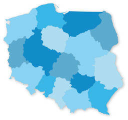 Blue vector map of Poland with voivodeships © geografika