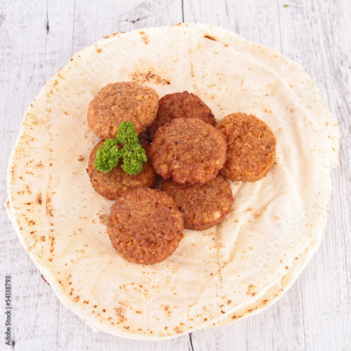 pita bread and falafel