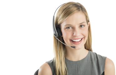 Confident Customer Service Representative Wearing Headset