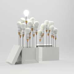 drawing idea pencil and light bulb concept outside the box