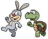 Vector illustration of Cartoon Rabbit and turtle