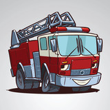 Cartoon fire truck character isolated
