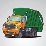 cartoon trash truck isolated