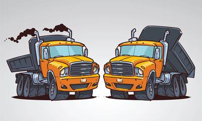cartoon truck tipper. vector illustration isolated on white