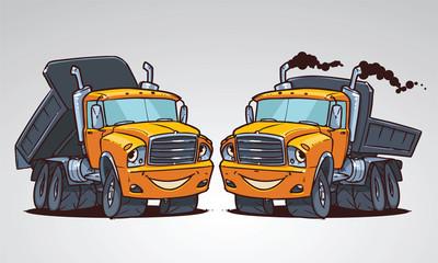 cartoon truck tipper. Character design
