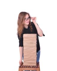 девушка с пачками бумаги, копи-центр