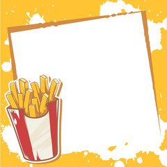 Advertisement invitation card with french fries