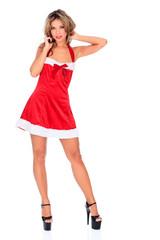 Santa helper in red dress