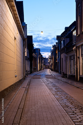 street in Dutch city at night