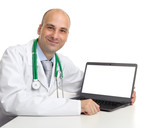 doctor and laptop computer with blank screen
