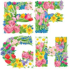Alphabet of flowers EFGH