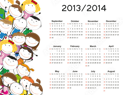 Simple calendar on new school year 2013 and 2014