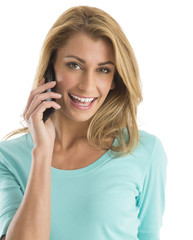 Portrait Of Happy Woman Using Smart Phone