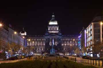 Upper part of Wenceslas Square at night