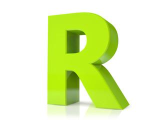 3d green letter - R
