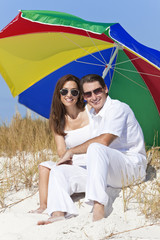 Man Woman Couple Sunglasses Multi Colored Beach Umbrella