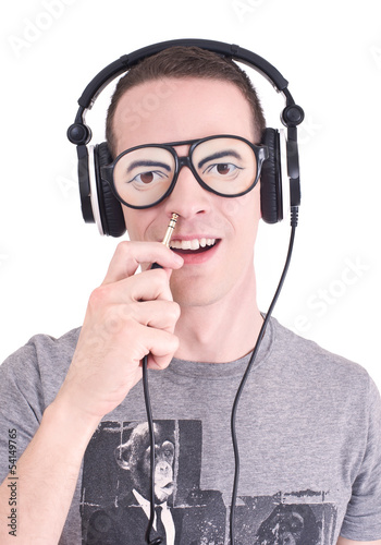 Funny DJ - Young man with headphones and stupid sunglasses