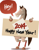 horse with a Happy New Year sign
