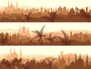Horizontal banners of big arab city at sunset.