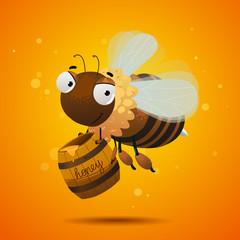 bee worker with full barrel of honey