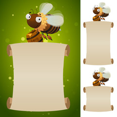 blank parchment scroll and bee with honey